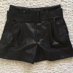 Zara trf faux leather shorts